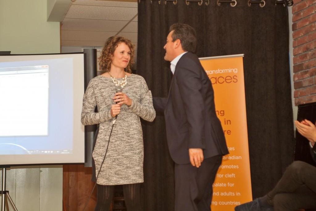 Laura Lewis-Watts bids Esteban Lasso farewell at a send off event in November