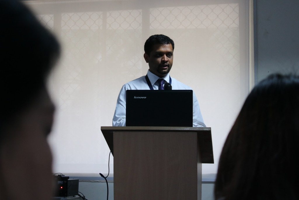 Suraj presents to delegates